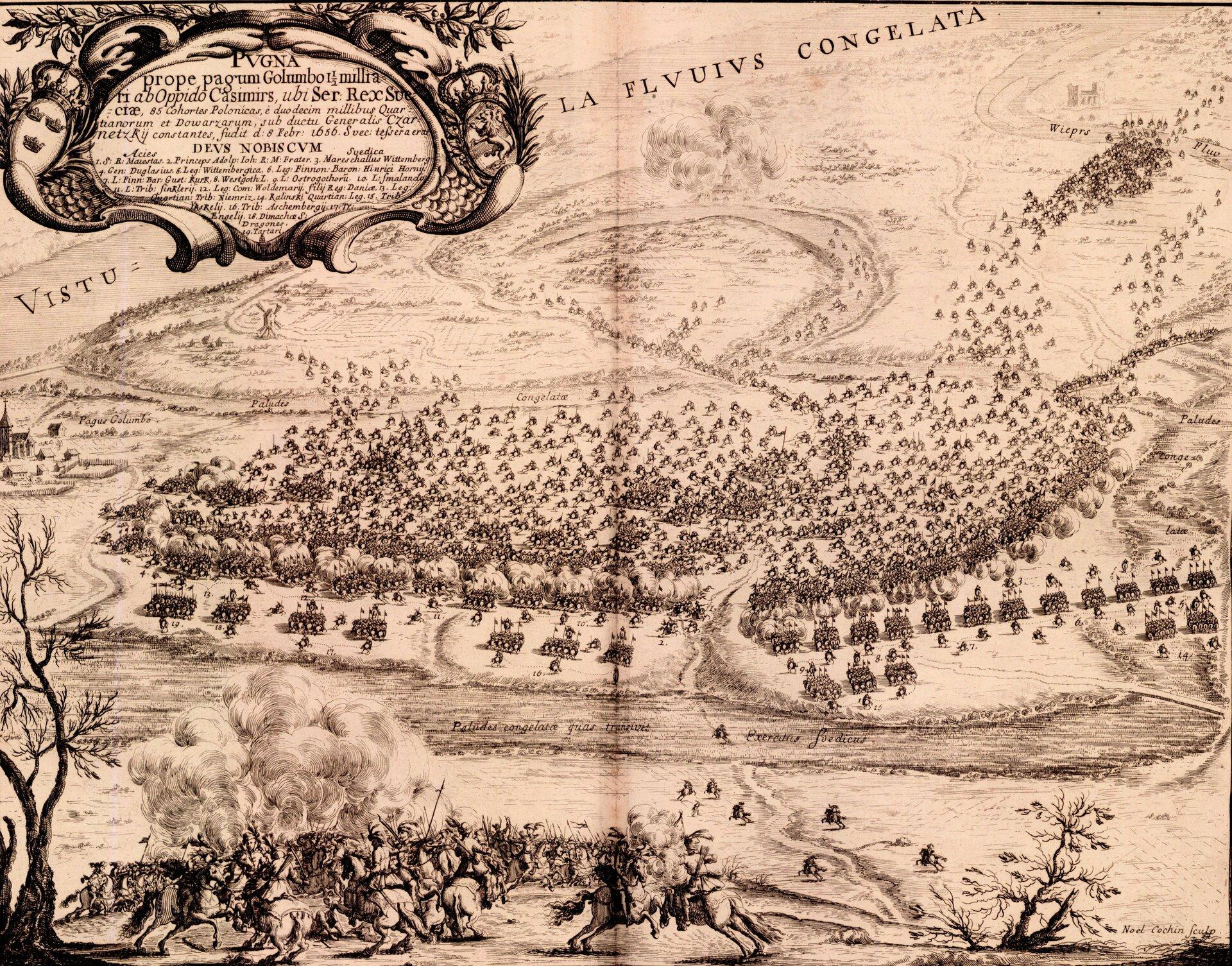 Samuel von Pufendorf, Oczynach Karola Gustawa, króla Szwecji, komentarzy ksiąg siedem, Norymberga 1696 19 lutego 1656 roku pod Gołębiemdoszło do starcia wojsk szwedzkichdowodzonych przezKarolaGustawa zsiłami Stefana Czarnieckiego.Początkowe sukcesy strony polskiejzałamały się wogniu spieszonej dragonii szwedzkiej. Próba oskrzydlenia podjęta przez oddziały szwedzkie,grożąca Polakom odcięciem jedynej drogi odwrotu za Wieprz, zmusiła wojska Czarnieckiego do ucieczki. Porażkę wtej bitwie uważa się za największą klęskę Czarnieckiego, trudno się jednak ztym zgodzić, gdyżjuż po kilku dniach Czarniecki zebrał swe rozproszone oddziały imógł dalej prowadzić działania militarne. Zwycięska bitwa zaśnie poprawiła sytuacji Karola Gustawa. Za ciekawostkę można uznać fakt, że wtej bitwie po stronie szwedzkiej walczył późniejszy król Jan III Sobieski. Źródło: Erik Dahlbergh, Samuel von Pufendorf, Oczynach Karola Gustawa, króla Szwecji, komentarzy ksiąg siedem, Norymberga 1696, 1696, domena publiczna.