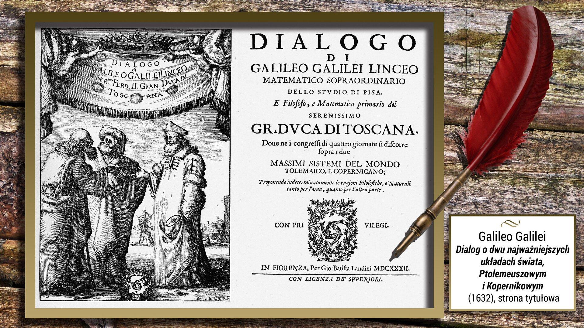 """Czarno-biała ilustracja przedstawia stronę tytułową dzieła Galilea Galilei – """"Dialog odwu najważniejszych układach świata, Ptolemeuszowym iKopernikowym"""". Jest ona przedzielona na dwie części. Jej lewą część zajmuje ilustracja przedstawiając trzech mężczyzn rozmawiających ze sobą. Nad nimi rozwieszony jest napis znazwą dzieła. Prawa część jest kompozycją typograficzną."""