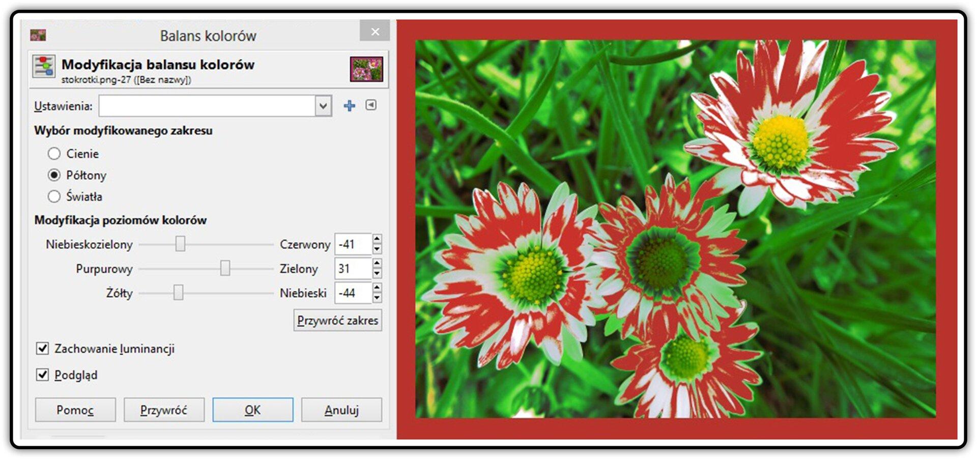 Zrzut okna: Balans kolorów