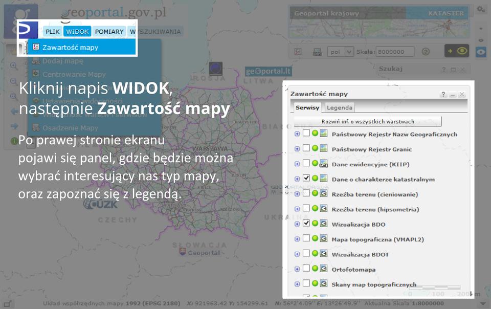Druga ztrzech ilustracji pokazująca sposób korzystania zaplikacji internetowej Geoportal.