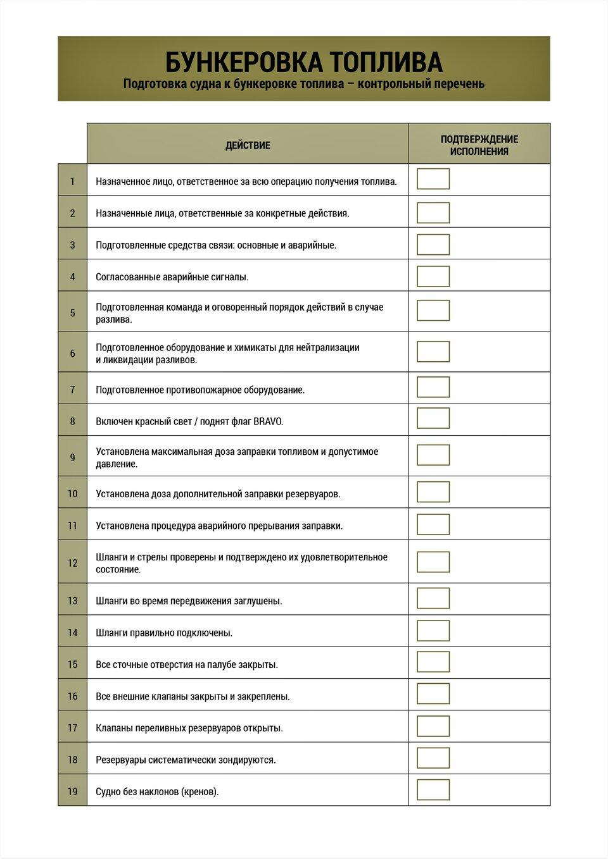Контрольный перечень представляет процедуру, которая должна соблюдаться при подготовке судна к бункеровке топлива. Dokument przedstawia listę kontrolną stanowiącą procedurę postępowania podczas przygotowania statku do bunkrowania paliwa.