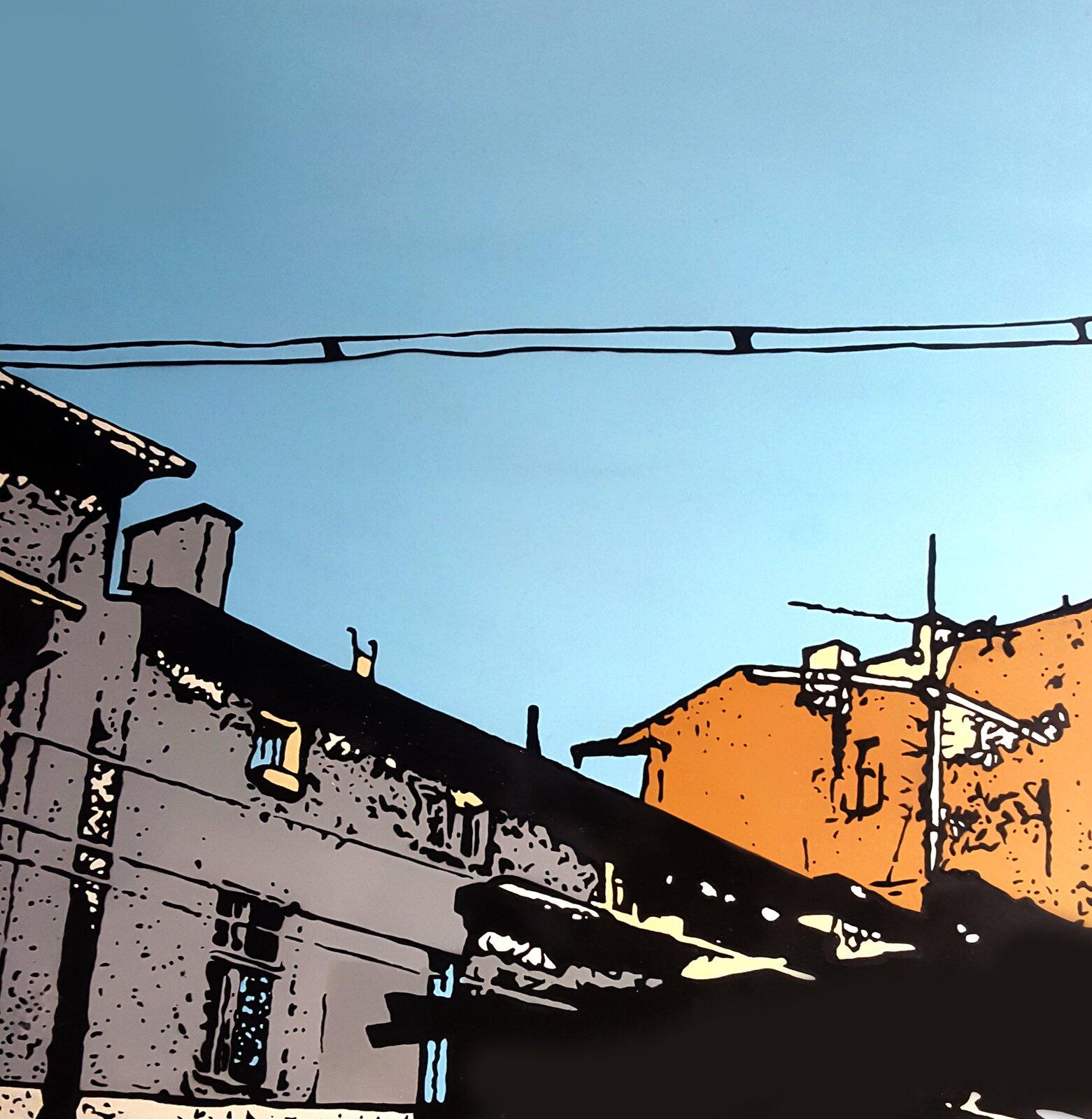 Zdjęcie ukazuje grafikę budynku. Budynki są wkolorach brązowym oraz pomarańczowym. Wtle rozciąga się błękitne, bezchmurne niebo.