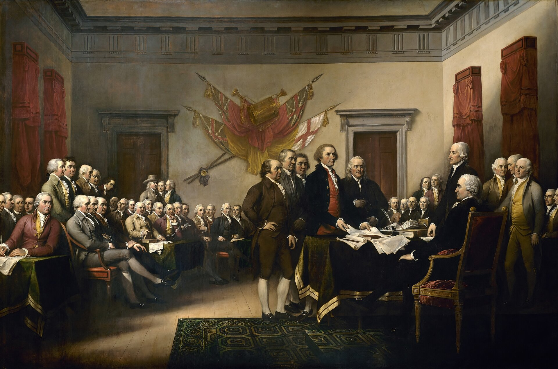 Obraz przedstawia podpisanie deklaracji niepodległości USA