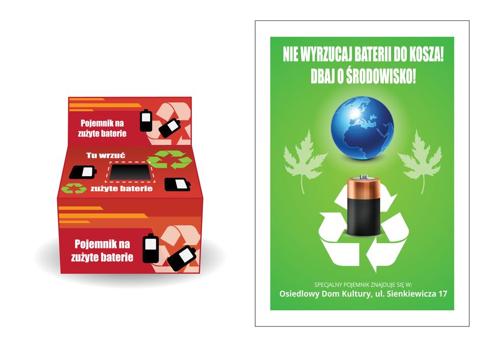 Ilustracja przedstawia pojemnik na zużyte baterie oraz przykładowy plakat informujący oakcji zbierania zużytych baterii.