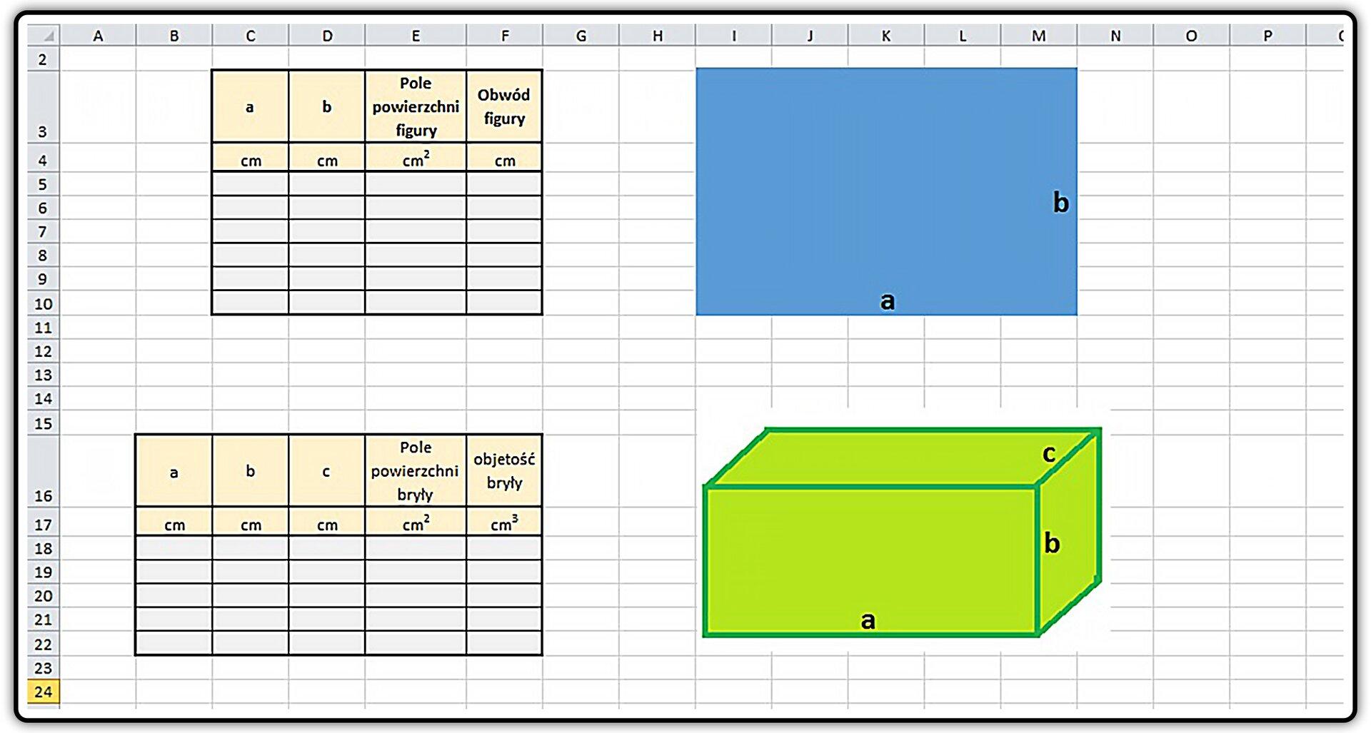 Zrzut przykładowych tabel
