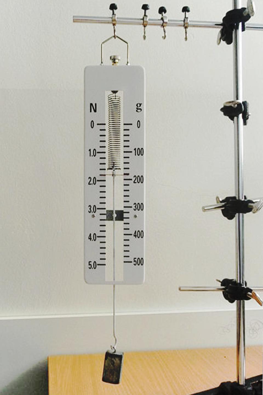 Zdjęcie siłomierza ze skalą podwójną. Pozwalający ważyć zarówno wjednostkach masy jak isiły.