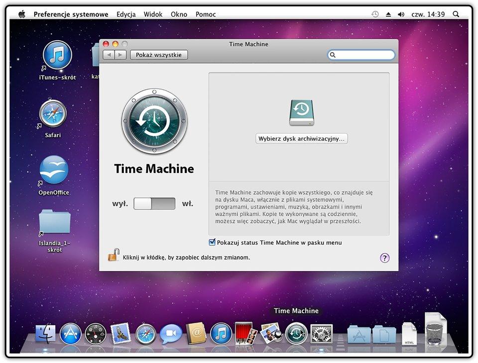 Zrzut okna programu Time Machine wsystemie operacyjnym Mac OS X