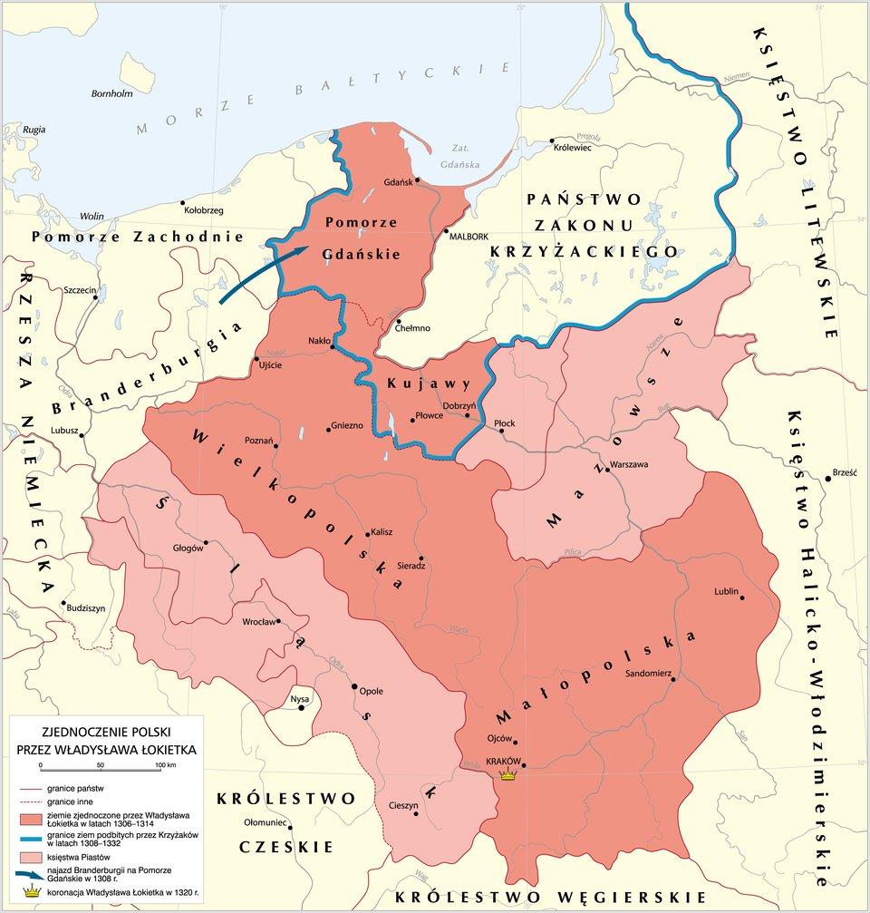mapa -Zjednoczenie Polski