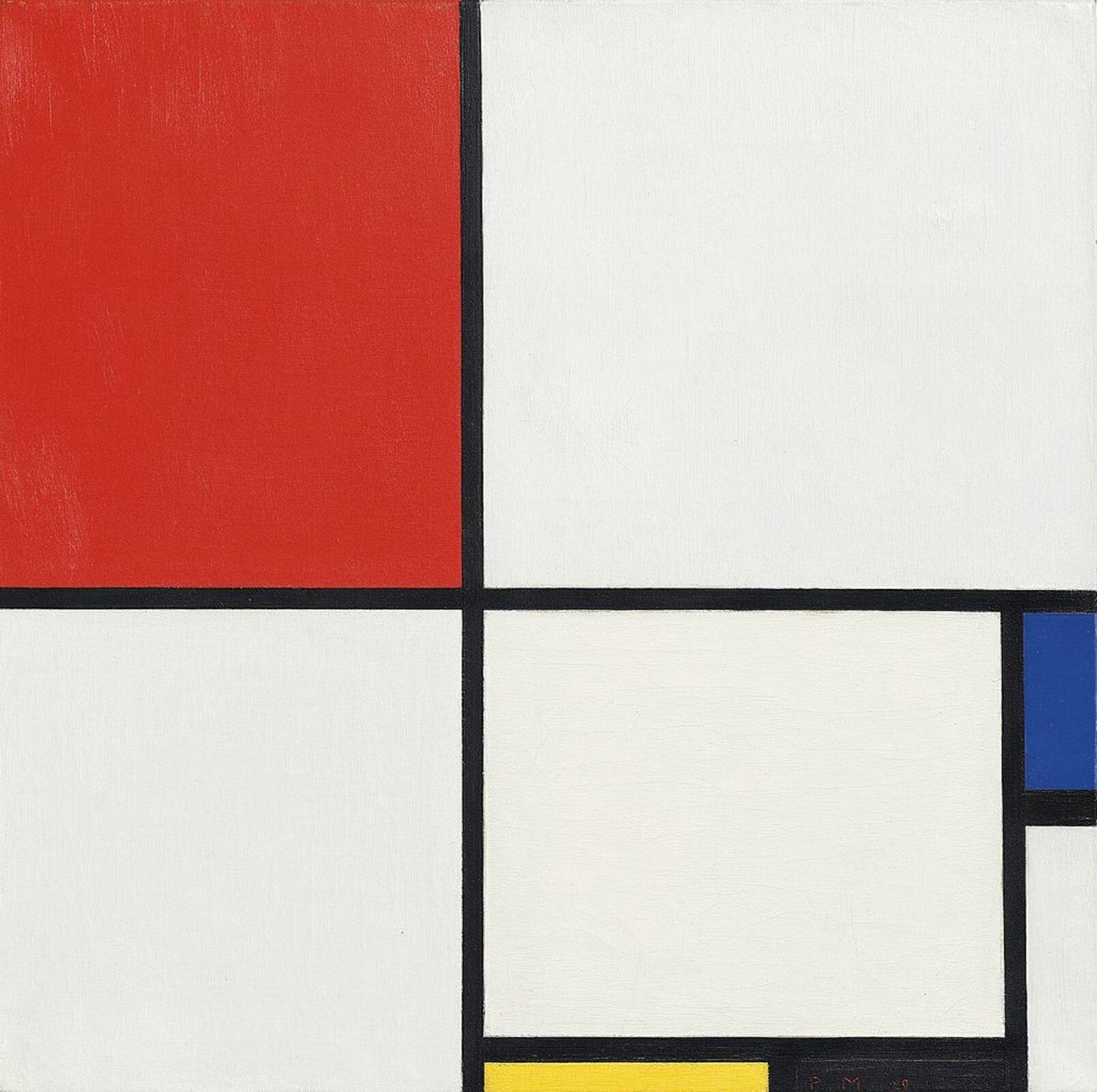 """Ilustracja przedstawia obraz olejny """"Kompozycja Nr III. Czerwony, niebieski, żółty iczarny"""" autorstwa Pieta Mondriana. Biała płaszczyzna abstrakcyjnej kompozycji podzielona jest przez dwie linie: pozioma linia, która dzieli ją na górną idolną część oraz pionowa, która dzieli obraz na prawą szerszą ilewą węższą stronę. Wten sposób na obrazie powstały cztery prostokąty. Płaszczyzna po prawej stronie dolnej części kompozycji podzielona jest dodatkowo na pięć prostokątów: jeden duży biały oraz cztery wąskie wkoloże żółtym, czarnym, białym iniebieskim. Dominującym akcentem kompozycji jest czerwony, prostokąt znajdujący się wlewej, górnej partii obrazu."""