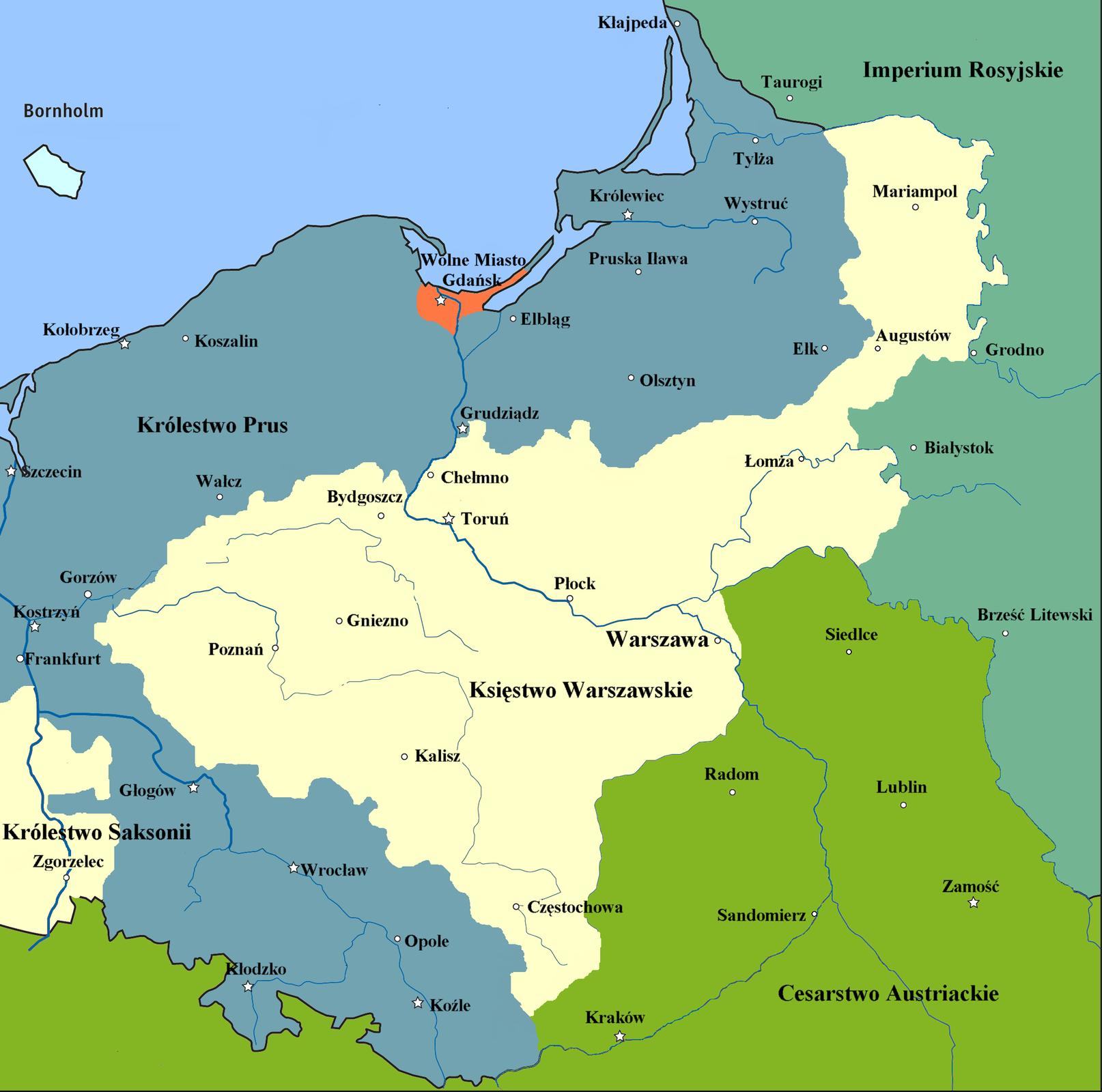 Księstwo Warszawskie Źródło: Mathiasrex, Księstwo Warszawskie, licencja: CC BY 3.0.