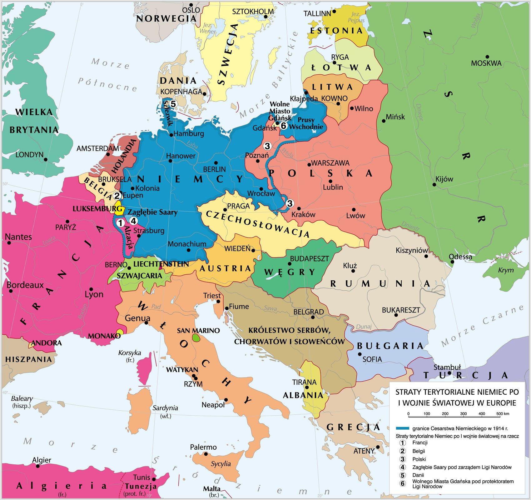 Straty terytorialne Niemiec Straty terytorialne Niemiec Źródło: Krystian Chariza izespół, licencja: CC BY 3.0.