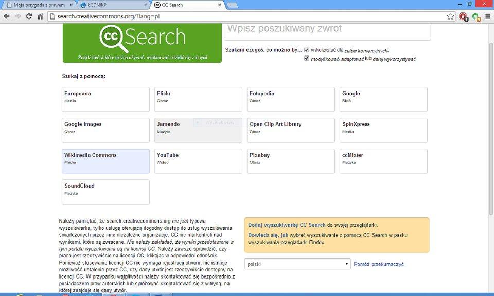 Zrzut okna wyszukiwarki search.creativecommons.org