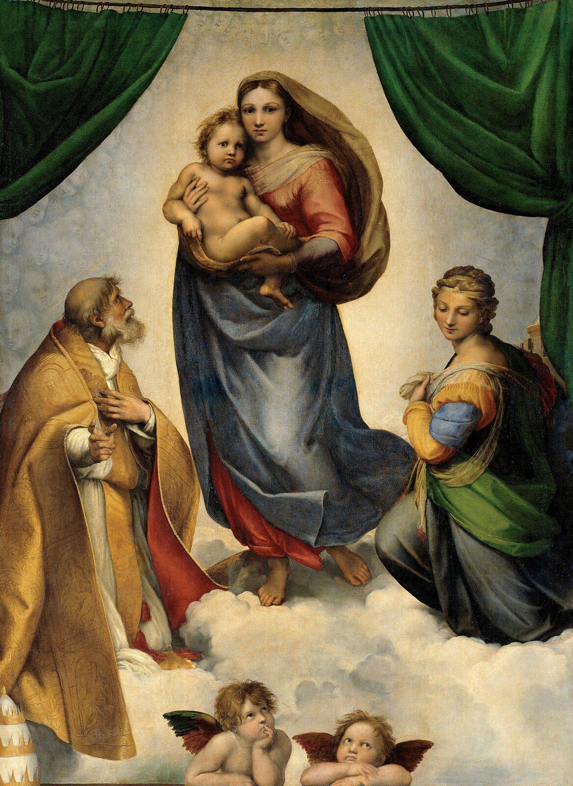 Madonna Sykstyńska Źródło: Rafael Santi, Madonna Sykstyńska , 1513-14, olej na płótnie, Galeria Obrazów Starych Mistrzów wDreźnie, domena publiczna.