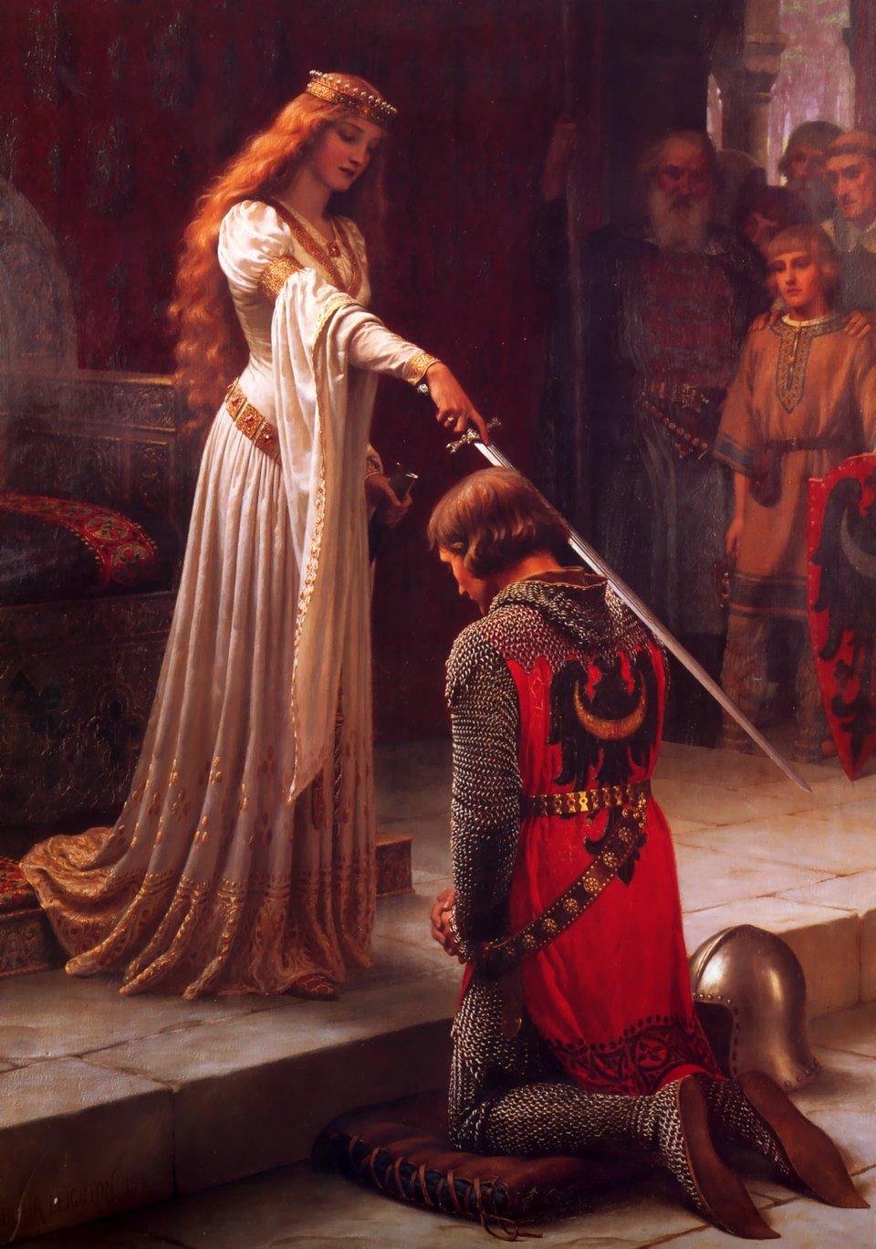 Akolada (Pasowanie na rycerza) Źródło: Edmund Blair Leighton, Akolada (Pasowanie na rycerza), 1901, olej na płótnie, domena publiczna.
