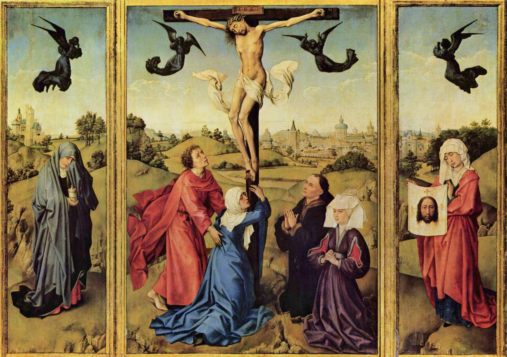 Ukrzyżowanie (tryptyk) Źródło: Rogier van der Weyeden, Ukrzyżowanie (tryptyk), 1440–1445, olej na desce, Muzeum Sztuki wWiedniu, domena publiczna.