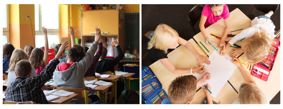 Dwie fotografie umieszczone obok siebie. Pierwsza fotografia przedstawia dzieci wklasie szkolnej, siedzące wdwuosobowych ławkach, aktywnie uczestniczące wlekcji: zgłaszające się do odpowiedzi poprzez podniesienie ręki. Druga fotografia przedstawia dzieci siedzące wokół dwóch połączonych ze sobą stolików. Dzieci wspólnie pracują nad jednym rysunkiem.