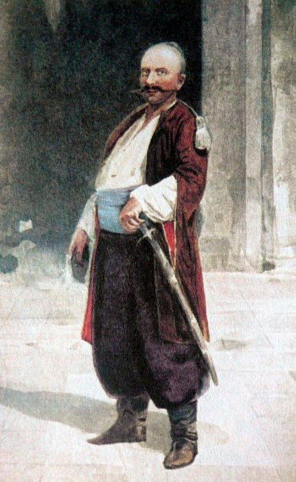Setnik humański Iwan Gonta Iwan Gonta (data ur. nieznana, zm. 1768) – setnik nadwornej milicji wojewody kijowskiego Franciszka Salezego Potockiego. Miał uczestniczyć wobronie Humania. Zdowodzonym przez siebie oddziałem dołączył jednak do hajdamaków Maksyma Żeleźniaka.Po pogromie wHumaniu ruskie chłopstwo ogłosiło go księciem humańskim. Został też drugim zprzywódców koliszczyzny. Pojmany przez Rosjan (7 lipca 1768 r.), został wydany staroście halickiemu Franciszkowi Ksaweremu Branickiemu istracony po czternastodniowych torturach we wsi Serby (obecnie Hontiwka) koło Mohylowa Podolskiego. Źródło: Serhii Vasylkivsky, Setnik humański Iwan Gonta, przed 1917 r., domena publiczna.
