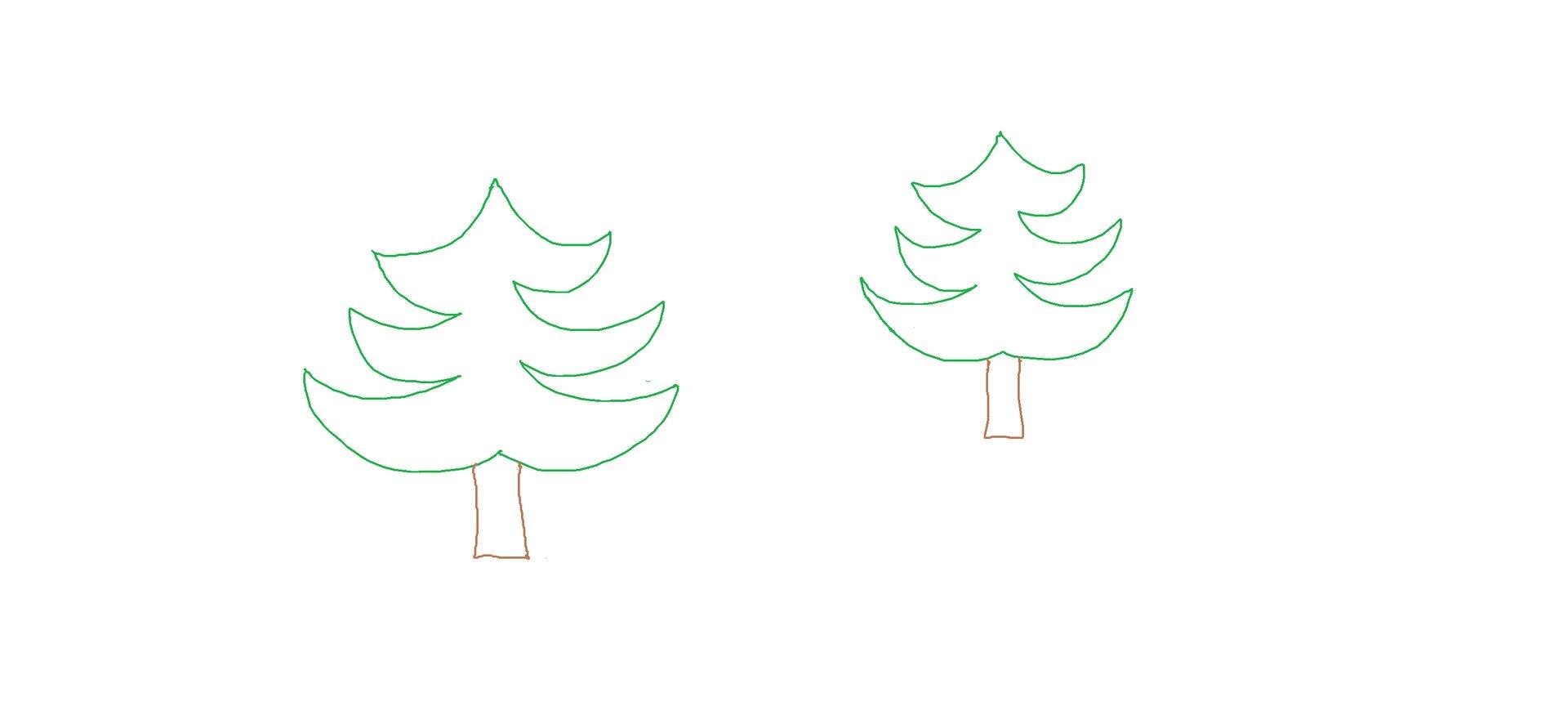 Ilustracja przedstawiająca choinki bez wypełnienia kolorem