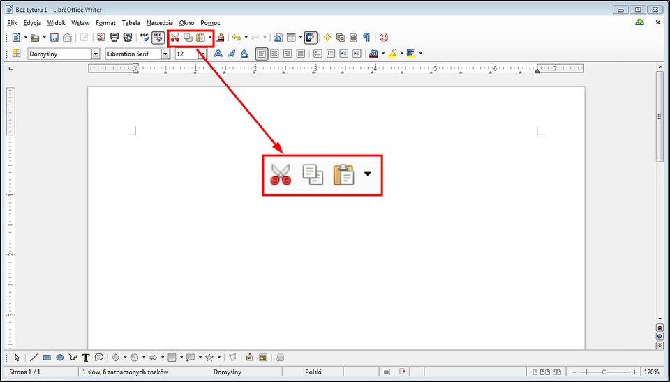Slajd 3 galerii zrzutów okien przykładowych edytorów tekstu zzaznaczonymi narzędziami Wytnij, Kopiuj, Wklej