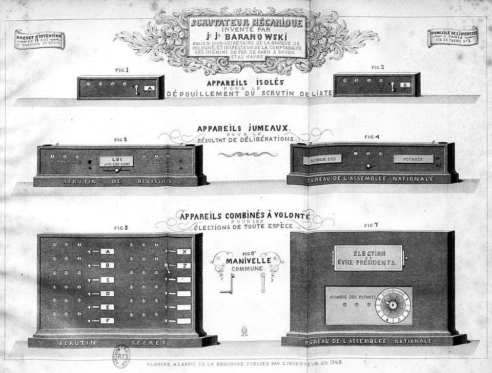 Maszyna licząca głosy Źródło: Jan Józef Baranowski, Maszyna licząca głosy, 1849, domena publiczna.