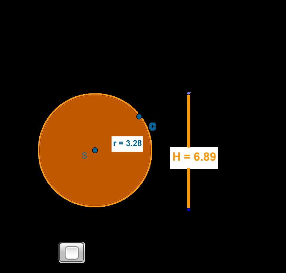 Animacja pokazuje stożek. Zmieniając długość promienia podstawy należy skonstruować stożek opromieniu r=4 cm iwysokości H=6 cm.