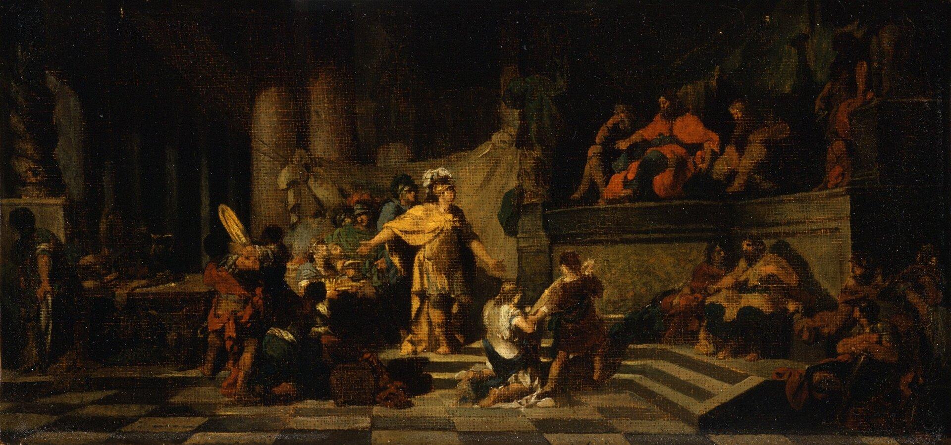 """Obraz autorstwa Jean-Baptiste Regnaulta pod tytułem """" Eneasz ofiarowuje królowi Latynusowi prezenty iprosi go orękę swojej córki"""" przedstawia scenę, na której znajduje się duża grupa osób. Na pierwszym planie wcentrum widoczny jest mężczyzna ubrany wdługą złotą szatę oraz złoty hełm. Eneasz wskazuje jedną dłonią na ludzi, którzy niosą dary dla króla. Zprawej strony Eneasza znajdują się ludzie, którzy oddają hołd królowi. Latynus wraz ze swoją świtą siedzi na podwyższeniu. Ubrany jest wczarno-czerwone szaty, jedną dłoń ma wyciągniętą wstronę Eneasza. Obraz został utrzymany wciemnej tonacji, istworzony został głównie za pomocą ciemnych barw."""