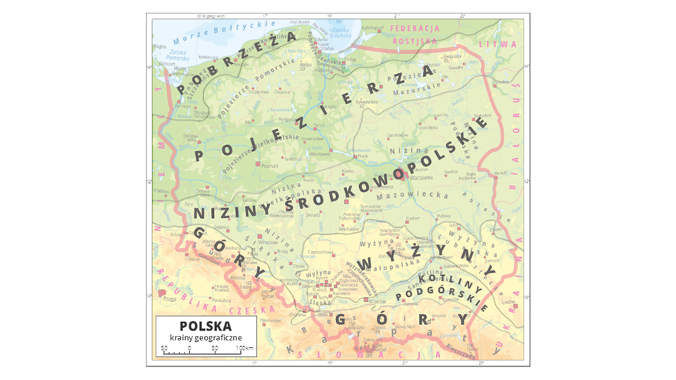 Aktywna mapa Polski zzaznaczonymi pasami poszczególnych krajobrazów Polski. Od północy są to kolejno pas: pobrzeży, pojezierzy, nizin środkowopolskich, wyżyn, kotlin podgórskich, gór.