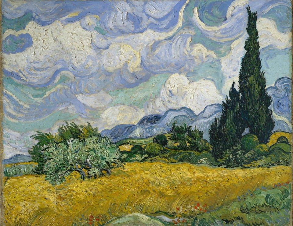 Pole pszenicy zcyprysami Źródło: Vincent van Gogh, Pole pszenicy zcyprysami, 1889, olej na płótnie, domena publiczna.