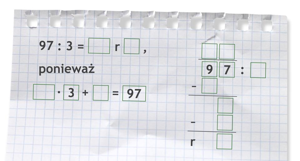 Miejsce do wykonania dzielenia: 97 dzielone przez 3.