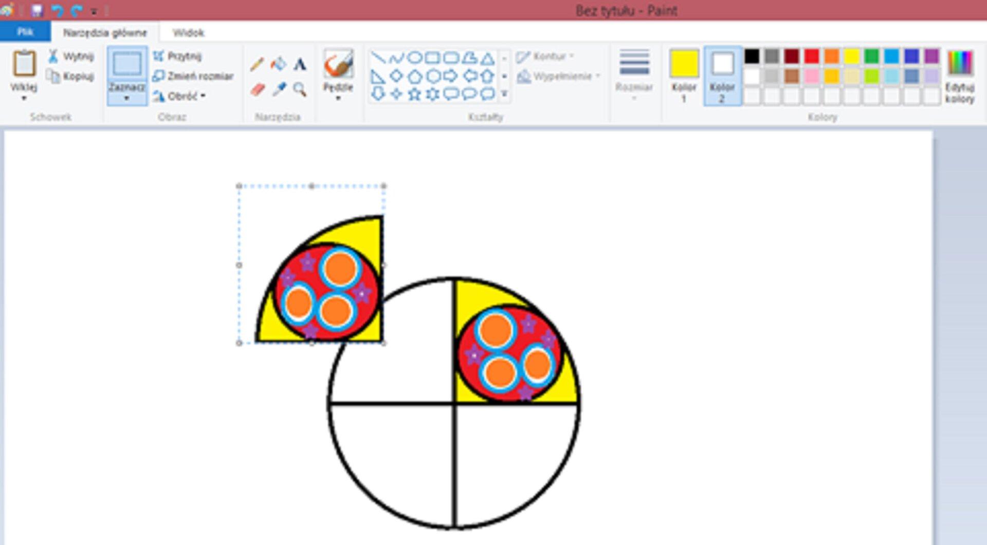 Zrzut okna programu Paint ilustrujący efekt odbicia za pomocą polecenia: Przerzuć wpoziomie