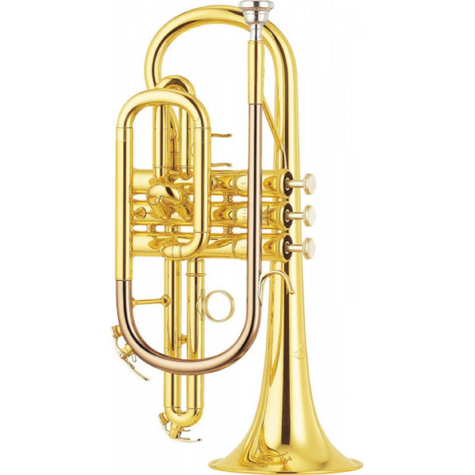 Ilustracja przedstawia kornet. Widoczny jest instrument dęty blaszany zgrupy aerofonów ustnikowych, podobny do trąbki.