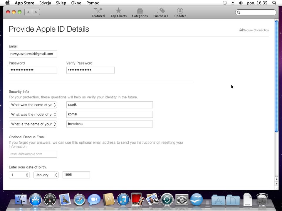Zrzut okna 1 procesu zakładania konta wApp Store