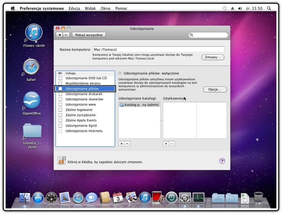 Ilustracja przedstawiająca: Krok 5 udostępniania plików wsystemie Mac OS X