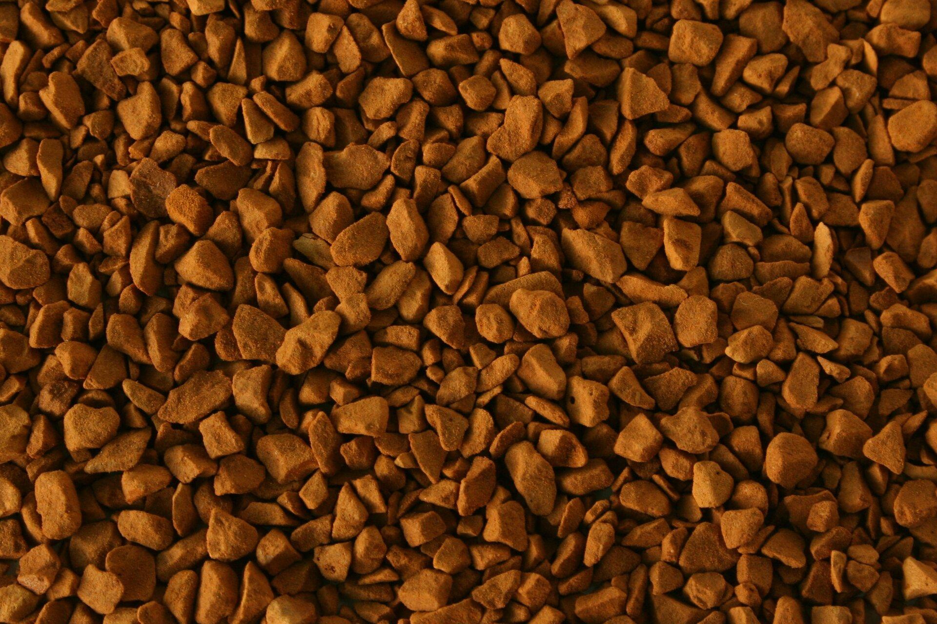 Zdjęcie przedstawia zbliska suchy produkt spożywczy powstały przy użyciu metody liofilizacji. Brązowo czerwone grudki przypominają kształtem drobne kamienie.