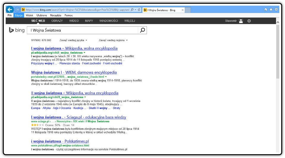 Zrzut okna wyszukiwarki Bing