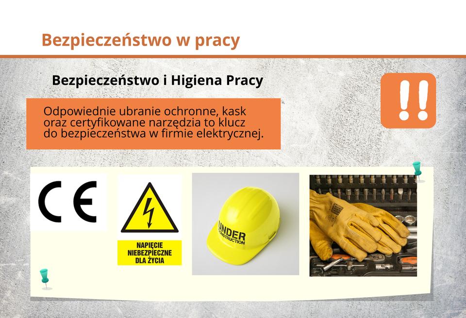 Ilustracja przedstawia odpowiednie ubranie ochronne, kask oraz certyfikowane narzędzia to klucz do bezpieczeństwa wfirmie energetycznej.