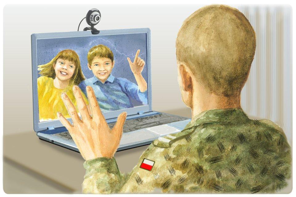 Ilustracja przedstawiająca ojca rozmawiającego zdziećmi za pomocą komunikatora