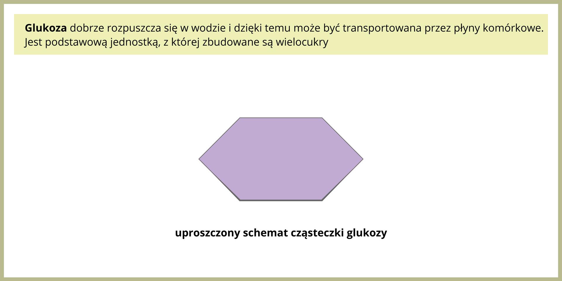 Ilustracja przedstawia fioletowy sześciokąt. Jest to schemat cząsteczki glukozy.