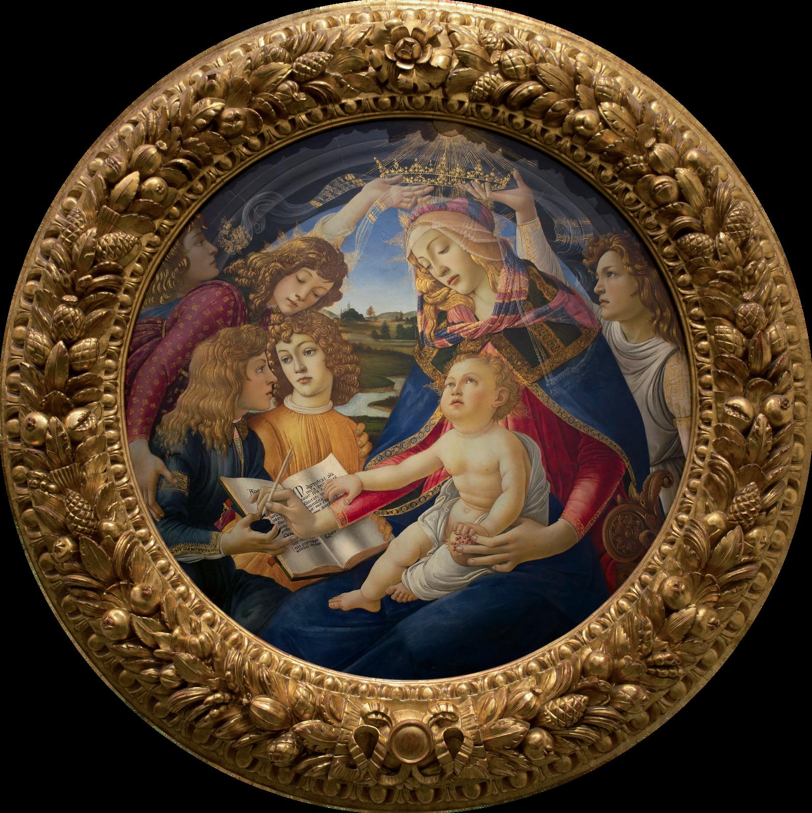 """Ilustracja przedstawia obraz olejny """"Madonna Magnificat"""" autorstwa Sandro Botticellego. Na płótnie okształcie koła, ukazana jest Madonna zmałym Chrystusem na kolanach. Matka Boska ubrana jest wczerwoną suknię. Jej ramiona przykrywa granatowy płaszcz ze złotymi wykończeniami. Głowę okrytą ma przezroczystym woalem ipasiastą, różowo-niebieską chustą. Nad nią znajduje się korona trzymana przez dwóch aniołów. Zlewej strony kompozycji stoją trzy postacie młodych osób odługich, jasnych, falowanych włosach. Dwaj młodzieńcy trzymają wdłoniach otwartą, zapisaną księgę, nad którą Madonna unosi dłoń zpiórem zanurzonym wtrzymanym przez jednego zchłopców kałamarzu. Wtle znajduje się pejzaż zrzeką ipofalowanymi pagórkami , nad którymi rozpościera się błękitne niebo. Obraz zamyka okrągła, bogato rzeźbiona wmotywy roślinne, złota rama."""
