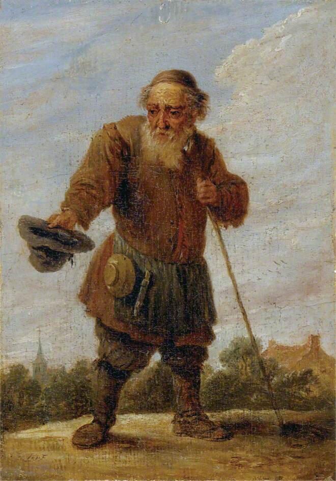 Stary żebrak Źródło: David Teniers II, Stary żebrak, olej na płótnie, Uniwersytet wOxfordzie, domena publiczna.