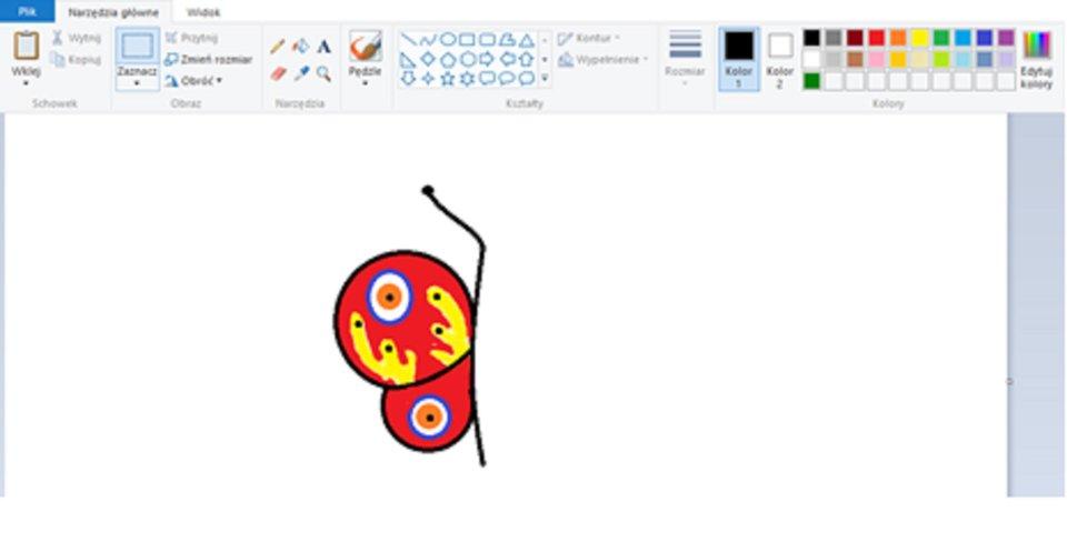 Zrzut okna programu Paint zilustracją skrzydła motyla wypełnionego kolorem