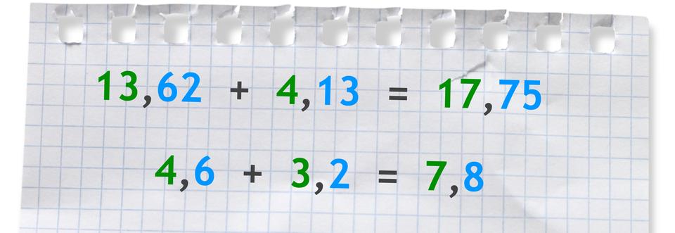 """""""Przykłady: 13,62 +4,13 =17,75"""