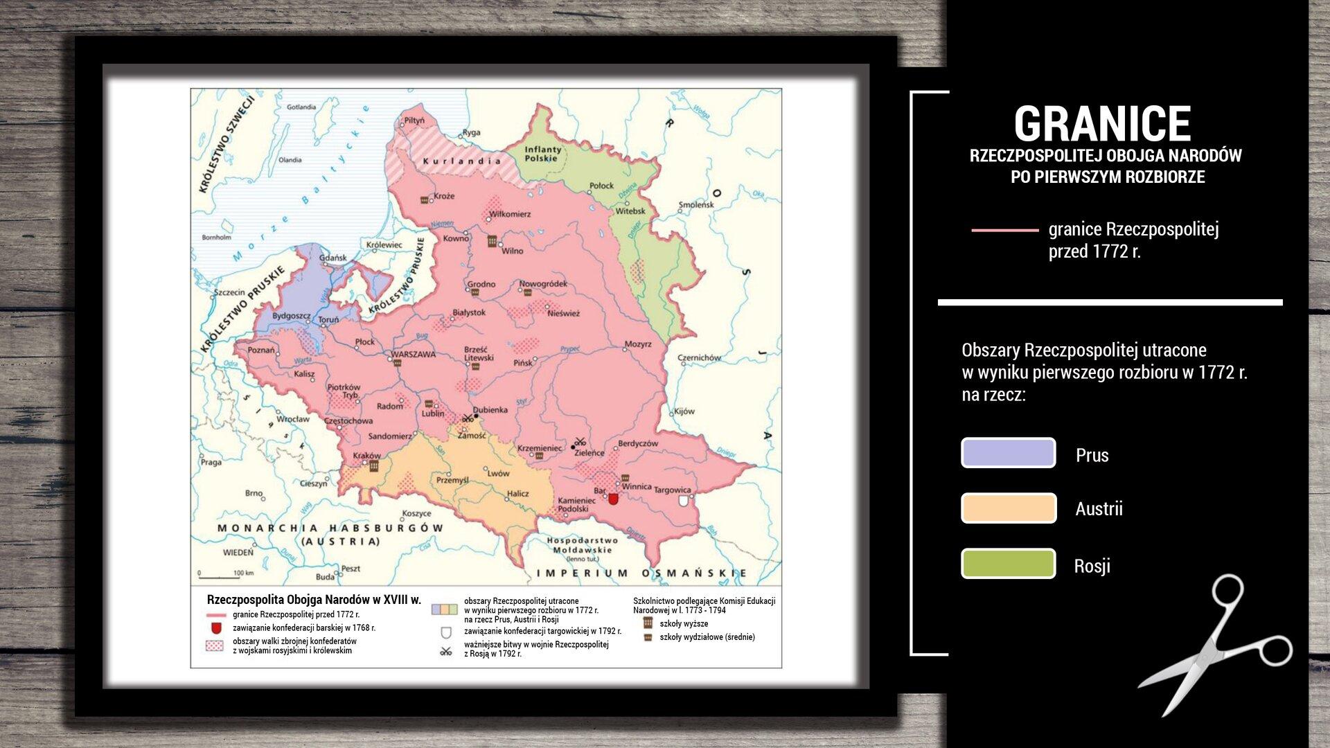 Na zamieszczonej ilustracji znajduje się mapa, która przedstawia granicę Rzeczpospolitej Obojga Narodów wraz zzaznaczonymi terenami, które Rzeczpospolita utraciła po pierwszym rozbiorze. Krainy geograficzne, które wchodziły wskład Rzeczpospolitej Obojga Narodów przed pierwszym rozbiorem w1772 roku to między innymi: Mazowsze, Małopolska, Podlasie, Warmia, Wielkopolska, Litwa iInflanty Polskie. Na mapie zaznaczone są tereny, które Rzeczpospolita straciła wwyniku pierwszego rozbioru. Na fioletowo zaznaczone są Kujawy iPomorze, które zaczęły przynależeć do Prus. Zaznaczony na pomarańczowo południowy rejon Polski (obejmujący między innymi takie miasta jak Przemyśl, Zamość, Lwów) został zawłaszczony przez Austrię. Inflanty Polski zostały zajęte przez Rosję (na mapie zostały zaznaczone zielonym kolorem).