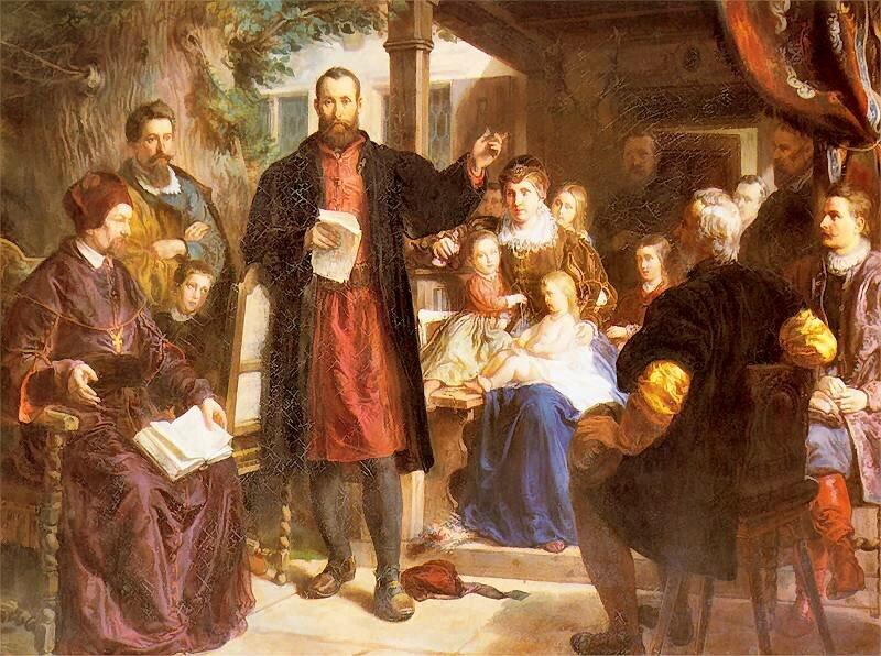 Kolorowy obraz na którym po środku stoi brodaty mężczyzna wczerwonej koszuli ibrązowy płaszczu. Wprawe ręce trzyma zapisane kartki papieru, lewą ma podniesioną do góry. Wygląda jakby recytował. Po jego prawej stronie na fotelu siedzi duchowny trzymający otworzoną księgą na kolanach, aza nim mężczyzna ichłopiec. Po lewej siedzi siwy mężczyzna na krześla, adalej przy stole kobiety idziewczynki - wszyscy wydają się słuchać mówiącego mężczyzny po środku.