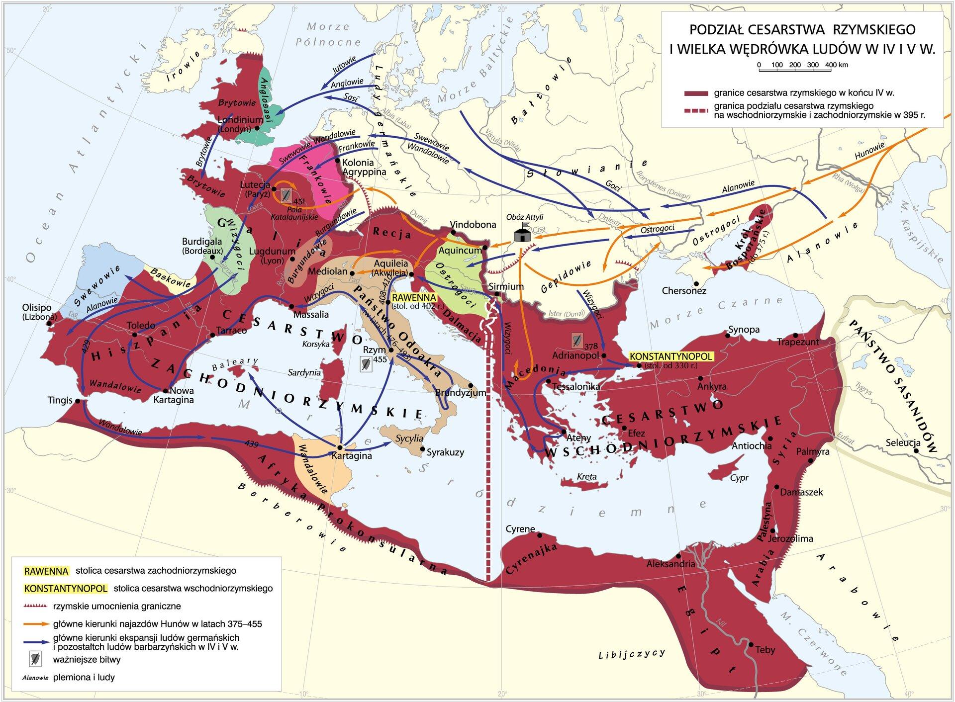 Wielka wędrówka ludów ipodział cesarstwa rzymskiego Wielka wędrówka ludów ipodział cesarstwa rzymskiego Źródło: Krystian Chariza izespół, licencja: CC BY 3.0.