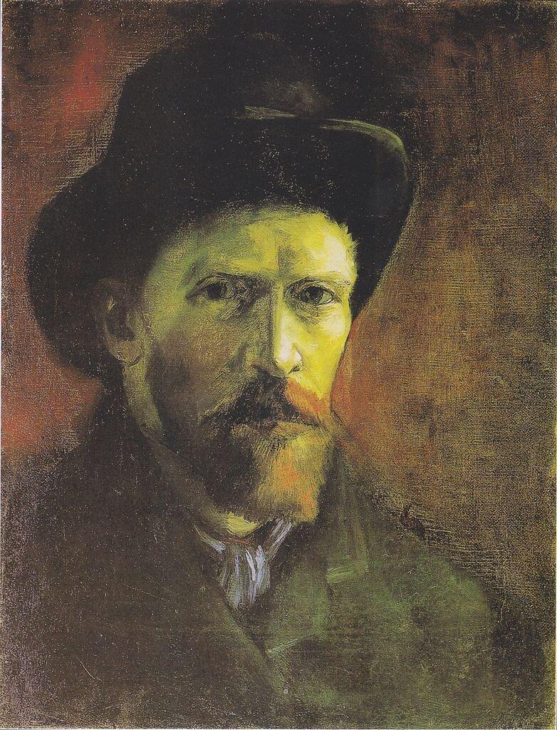 Autoportret wciemnym pilśniowym kapeluszu Źródło: Vincent van Gogh, Autoportret wciemnym pilśniowym kapeluszu, 1886, olej na płótnie, Van Gogh Museum, Amsterdam, domena publiczna.