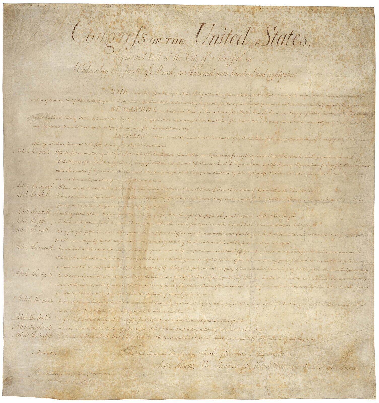 Karta Praw StanówZjednoczonych z1789 r. Dziesięć pierwszych poprawek do Konstytucji USA. Karta Praw StanówZjednoczonych z1789 r. Dziesięć pierwszych poprawek do Konstytucji USA. Źródło: National Archives and Records Administration, domena publiczna.
