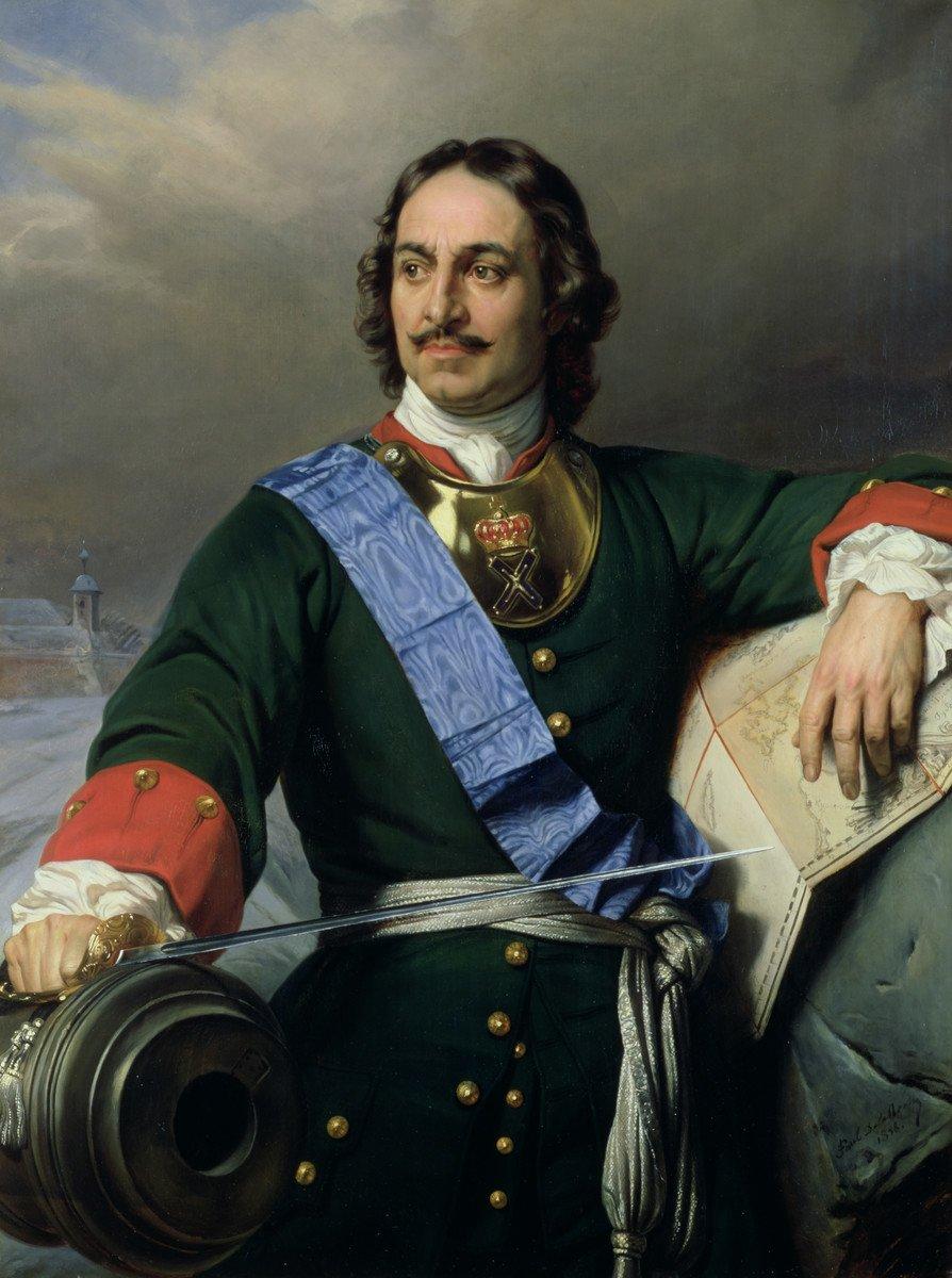 Car Piotr IWielki Źródło: Paul Delaroche, Car Piotr IWielki, 1838, olej na płótnie, Kunsthalle wHamburgu, domena publiczna.