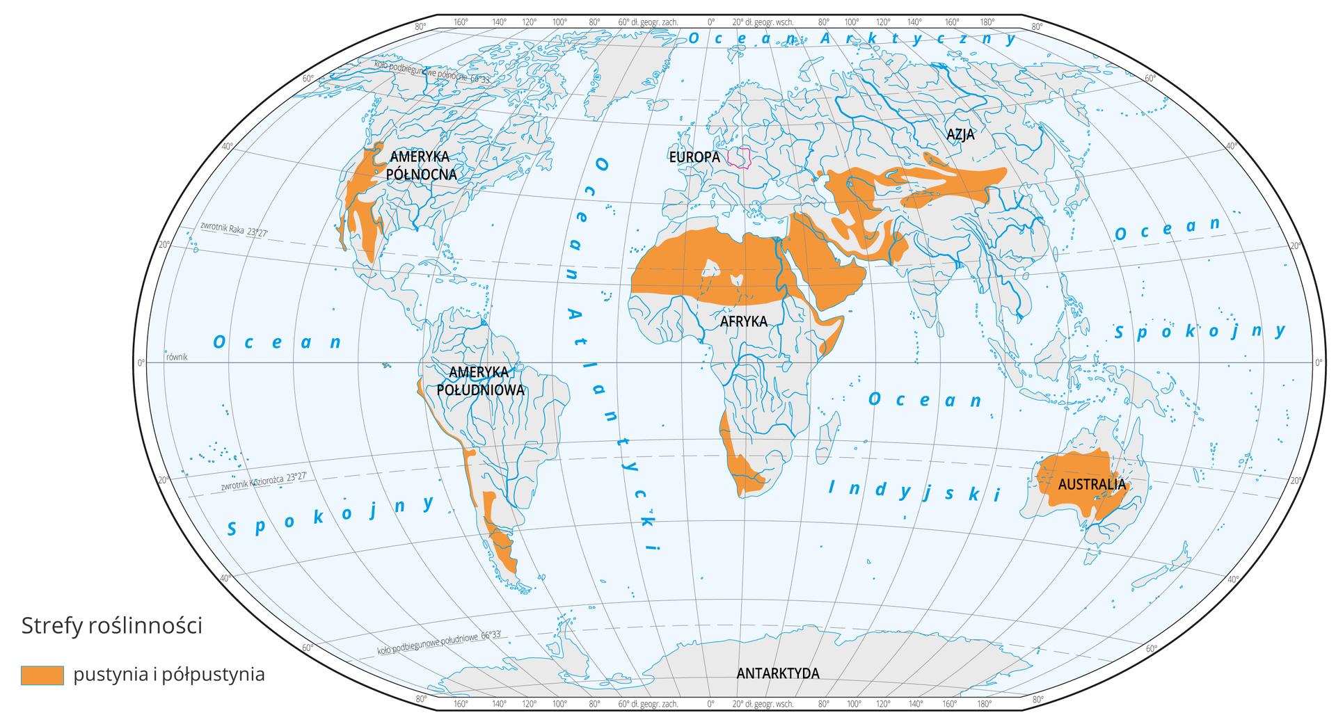 Mapa świata prezentuje występowanie pustyń ipółpustyń na Ziemi, które oznaczono kolorem brązowym. Pustynnie ipółpustynie występują wcałej północnej Afryce oraz jej południowo-zachodniej części. Na Bliskim Wschodzie, Ameryce Południowej, centralnej Australii oraz środkowej Azji.
