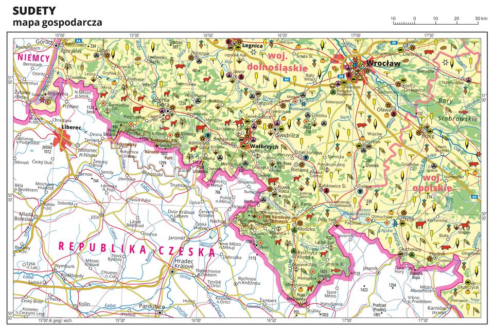 Ilustracja przedstawia mapę gospodarczą Sudetów. Tło części mapy obejmującej obszary Polski wkolorze żółtym (grunty orne), jasnozielonym (łąki ipastwiska) izielonym (lasy). Mapa sięga od Zgorzelca na północnym zachodzie do Namysłowa iGłubczyc na wschodzie. Dużą część mapy na południu zajmuje Republika Czeska, wtej części mapy nie ma kolorów isygnatur punktowych, zaznaczono jedynie miasta, sieć wodną, drogi ikoleje. Na pozostałej części mapy sygnatury obrazujące uprawy poszczególnych roślin, hodowlę zwierząt, przemysł, górnictwo ienergetykę, komunikację, turystykę, naukę, kulturę isztukę. Największe zagęszczenie sygnatur we Wrocławiu iWałbrzychu. Duże zagęszczenie sygnatur wJeleniej Górze, Legnicy iBrzegu. Na obszarze całej mapy równomiernie rozłożone sygnatury związane zhodowlą zwierząt iuprawą roślin.Na mapie przedstawiono sieć dróg ikolei, porty wodne ilotnicze, granice województw, granicę państwa. Opisano województwa dolnośląskie iopolskie. Opisano Niemcy iRepublikę Czeską. Opisano kompleksy leśne, na przykład Bory Stobrawskie iparki narodowe.Mapa zawiera południki irównoleżniki, dookoła mapy wbiałej ramce opisano współrzędne geograficzne co trzydzieści minut.